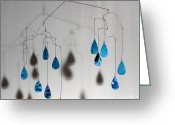 Kinetic Sculpture Greeting Cards - Raindrops Kinetic Mobile Sculpture Greeting Card by Carolyn Weir