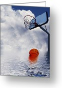 Basketball Greeting Cards - Rained Out Game Greeting Card by Gravityx Designs