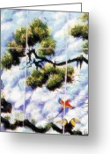 Trees Ceramics Greeting Cards - Rainforest Canopy Greeting Card by Dy Witt