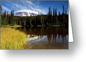 Cap Photo Greeting Cards - Rainier Capped Greeting Card by Mike  Dawson
