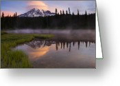 Mist Greeting Cards - Rainier Lenticular Sunrise Greeting Card by Mike  Dawson