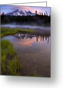 Cap Photo Greeting Cards - Rainier Sunrise Cap Greeting Card by Mike  Dawson