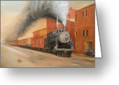 Trains Painting Greeting Cards - Raining Cinders Greeting Card by Christopher Jenkins