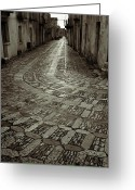 Old Street Photo Greeting Cards - Raining in Erice Greeting Card by RicardMN Photography