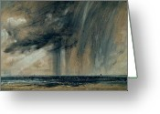 Raining Painting Greeting Cards - Rainstorm over the Sea Greeting Card by John Constable