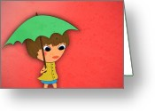 Umbrella Digital Art Greeting Cards - Rainy Greeting Card by Abbey Staum
