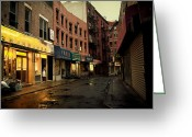 Nyc Cityscape Greeting Cards - Rainy Afternoon on Doyers Street - New York City Greeting Card by Vivienne Gucwa