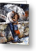 Standing Painting Greeting Cards - Rainy day - Love in the rain Greeting Card by Emerico Toth