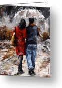 Standing Painting Greeting Cards - Rainy day - Walking in the rain Greeting Card by Emerico Toth