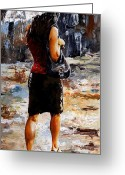 Black Jacket Greeting Cards - Rainy day - Woman of New York 04 Greeting Card by Emerico Toth