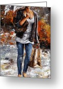 Black Jacket Greeting Cards - Rainy day - Woman of New York 06 Greeting Card by Emerico Toth