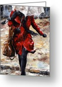 Umbrella Painting Greeting Cards - Rainy day - Woman of New York 10 Greeting Card by Emerico Toth
