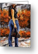 Colors Greeting Cards - Rainy day - Woman of New York 14 Greeting Card by Emerico Toth