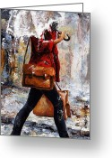 Black Jacket Greeting Cards - Rainy day - Woman of New York 17 Greeting Card by Emerico Toth