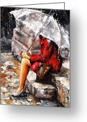 Umbrella Painting Greeting Cards - Rainy day - Woman of New York Greeting Card by Emerico Toth