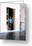 Old Lady Greeting Cards - Rainy Day Greeting Card by Artecco Fine Art Photography - Photograph by Nadja Drieling