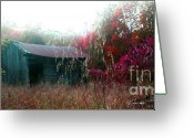 Old Country Roads Greeting Cards - Rainy Day Barn in the Fall Greeting Card by Vonicia Verton