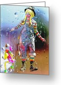 Pretending Greeting Cards - Rainy Day Clown 3 Greeting Card by Steve Ohlsen