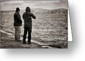 Marmara Greeting Cards - Rainy Day Fishing Greeting Card by Joan Carroll