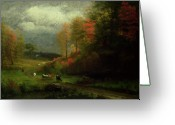 Hudson River School Greeting Cards - Rainy Day in Autumn Greeting Card by Albert Bierstadt