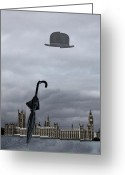 Umbrella Digital Art Greeting Cards - Rainy day in London  Greeting Card by Angel Jesus De la Fuente