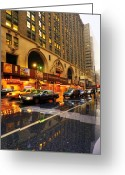 Brick Streets Greeting Cards - Rainy Day in Manhattan Greeting Card by Svetlana Sewell
