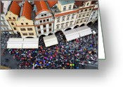 Large Clock Greeting Cards - Rainy Day in Prague-1 Greeting Card by Diane Macdonald