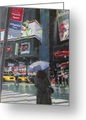 New York City Painting Greeting Cards - Rainy Day in Times Square Greeting Card by Patti Mollica