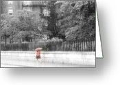 Red Woman Greeting Cards - Rainy Day Greeting Card by Julie Lueders