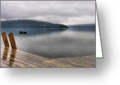 Storm Prints Photo Greeting Cards - Rainy Day Keuka Greeting Card by Steven Ainsworth