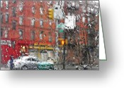 Traffic Light Greeting Cards - Rainy Day NYC 2 Greeting Card by Sarah Loft