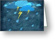 Art Education Greeting Cards - Rainy Day With Storm And Thunder Greeting Card by Setsiri Silapasuwanchai