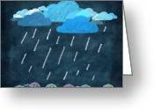 Sun Umbrella Greeting Cards - Rainy Day With Umbrella Greeting Card by Setsiri Silapasuwanchai