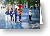 Rain Painting Greeting Cards - Rainy Days and Mondays Greeting Card by Judy Kay