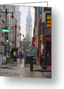 Cityhall Greeting Cards - Rainy Days and Sundays Greeting Card by Bill Cannon