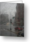 Sad Greeting Cards - Rainy Days in Boston Greeting Card by Julie Lueders