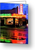 Convention Photography Atlanta Greeting Cards - Rainy Night at The Majestic Grill Greeting Card by Corky Willis Atlanta Photography