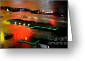 Puddle Photo Greeting Cards - Rainy Night in Chinatown Greeting Card by Dean Harte