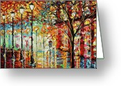 Umbrella Greeting Cards - Rainy Night Oil Painting - Confetti Rain Greeting Card by Beata Sasik
