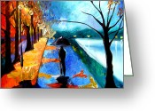 Contemporary Pastels Greeting Cards - Rainy Night Greeting Card by Tom Fedro - Fidostudio