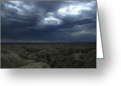 Rain Storms Greeting Cards - Rainy Sky Over The Badlands Greeting Card by Stacy Gold