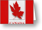 Pencil Drawing Digital Art Greeting Cards - Raised Surface Canada Flag Unofficial Greeting Card by Garry Staranchuk
