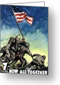 United States Flag Greeting Cards - Raising The Flag On Iwo Jima Greeting Card by War Is Hell Store