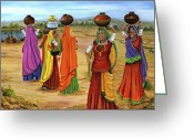  Tribal Prints Greeting Cards - Rajasthani  Women Going towards a pond to fetch water Greeting Card by Vidyut Singhal