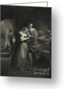 Intaglio Etching Greeting Cards - Raleigh Parting With Wife, 16th Century Greeting Card by Photo Researchers