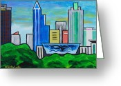 Center City Painting Greeting Cards - Raleigh Skyline 3 Greeting Card by Tommy Midyette