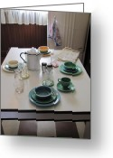 Kitchen Ware Greeting Cards - Ralphies Breakfast Table Greeting Card by Kelly Mezzapelle