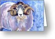 Horns Painting Greeting Cards - Rambo Greeting Card by Marsha Elliott