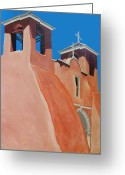 Taos Mixed Media Greeting Cards - Rancho de Taos Greeting Card by Wayne Devon