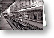 Train Greeting Cards - Randolph Street Station Chicago Greeting Card by Steve Gadomski